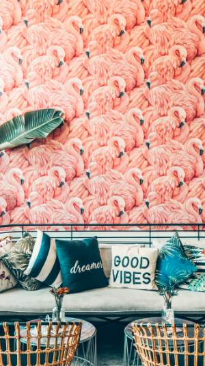 """A couch with pillows saying """"good vibes"""" sits in front of a wall with flamingo print wallpaper"""