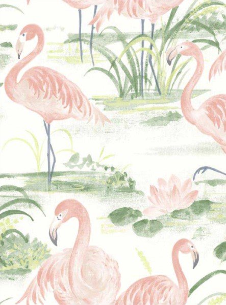 a wallpaper of pastel pink flamingos stand in a watercolor marsh filled with grass and water lillies